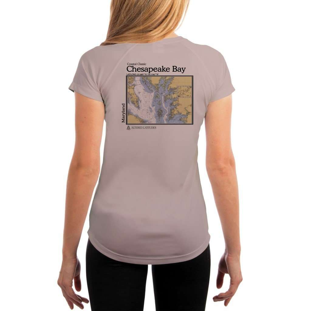 Coastal Classics Chesapeake Bay Womens Upf 50+ Uv/sun Protection Performance T-Shirt Athletic Grey / X-Small Shirt