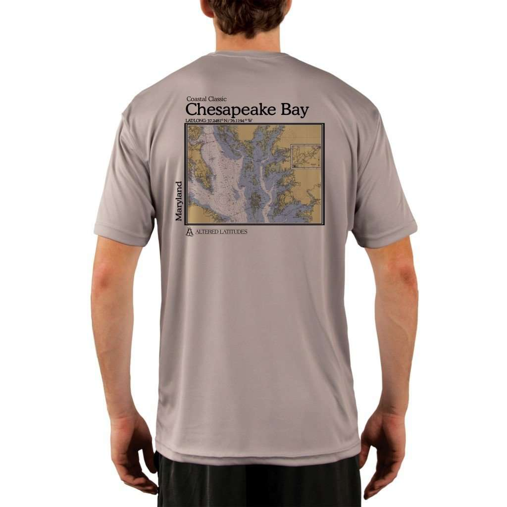 Coastal Classics Chesapeake Bay Mens Upf 50+ Uv/sun Protection Performance T-Shirt Athletic Grey / X-Small Shirt