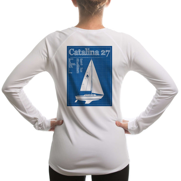 Catalina 27 Class Sailboat Womens Upf 5+ Uv/sun Protection Long Sleeve T-Shirt Large / White Shirt