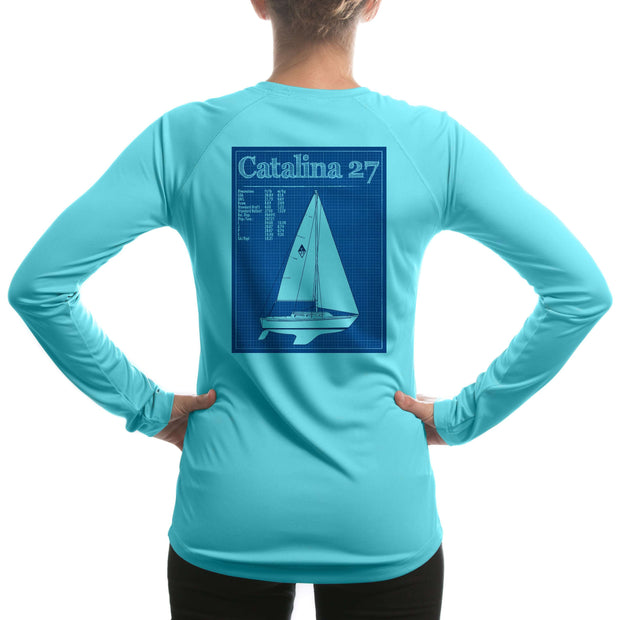 Catalina 27 Class Sailboat Womens Upf 5+ Uv/sun Protection Long Sleeve T-Shirt Large / Water Blue Shirt