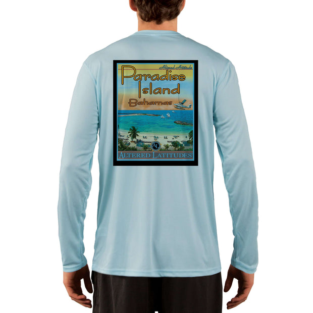 Vintage Destination Paradise Island Men's UPF 50+ UV Sun Protection Long Sleeve T-Shirt
