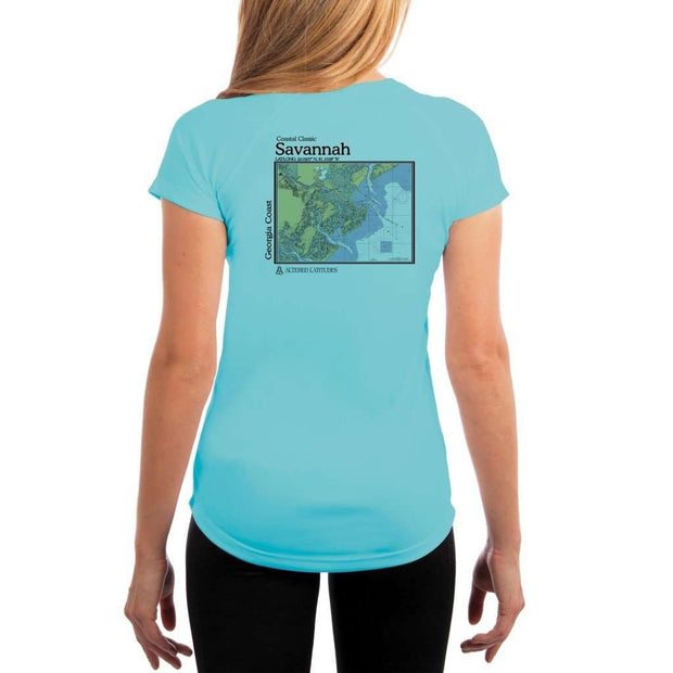 Coastal Classics Savannah Georgia Coast Womens Upf 5+ Uv/sun Protection Performance T-Shirt Water Blue / X-Small Shirt
