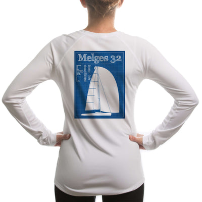 Melges 32 Class Sailboat Womens Upf 5+ Uv/sun Protection Long Sleeve T-Shirt Large / White Shirt
