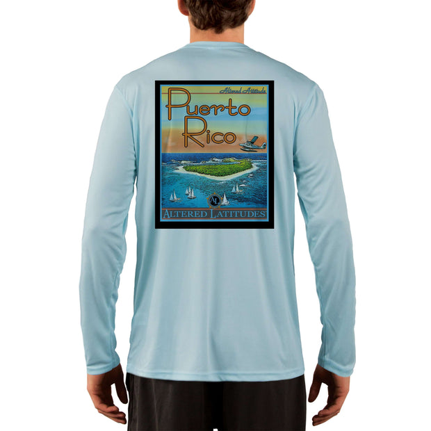 Vintage Destination Puerto Rico Men's UPF 5+ UV Sun Protection Long Sleeve T-Shirt - Altered Latitudes