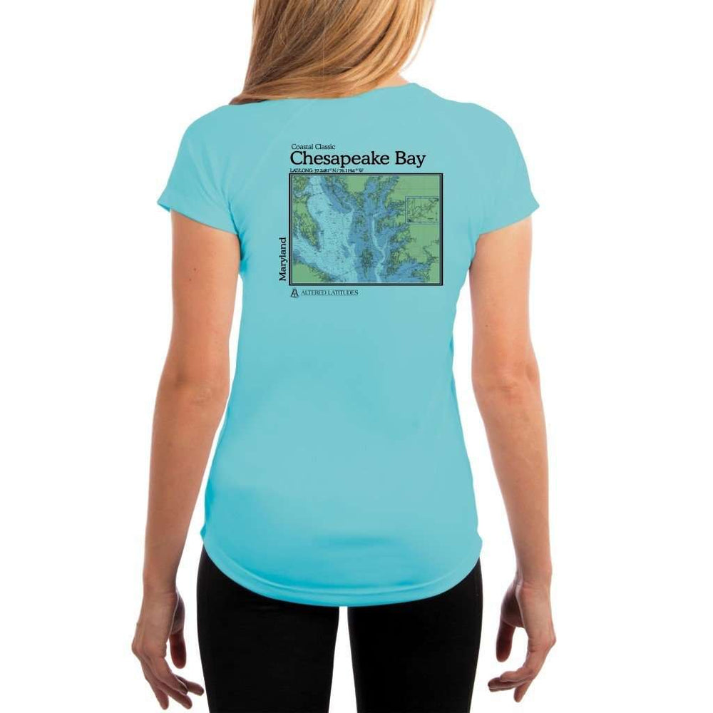 Coastal Classics Chesapeake Bay Womens Upf 5+ Uv/sun Protection Performance T-Shirt Water Blue / X-Small Shirt