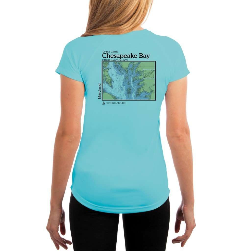 Coastal Classics Chesapeake Bay Womens Upf 50+ Uv/sun Protection Performance T-Shirt Water Blue / X-Small Shirt