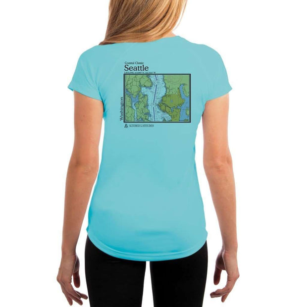 Coastal Classics Seattle Womens Upf 5+ Uv/sun Protection Performance T-Shirt Water Blue / X-Small Shirt
