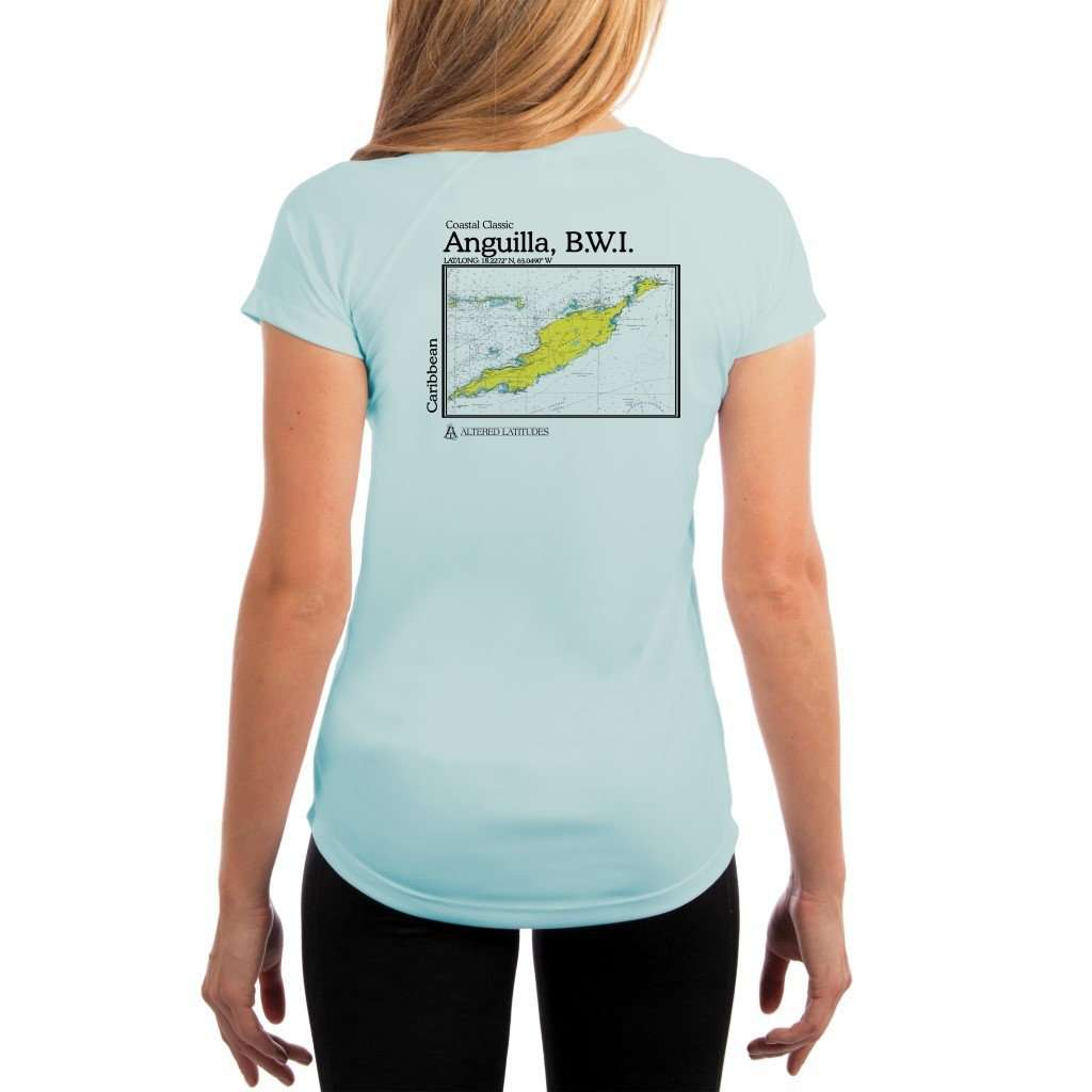 Coastal Classics Anguilla B.w.i. Womens Upf 50+ Uv/sun Protection Performance T-Shirt Arctic Blue / X-Small Shirt