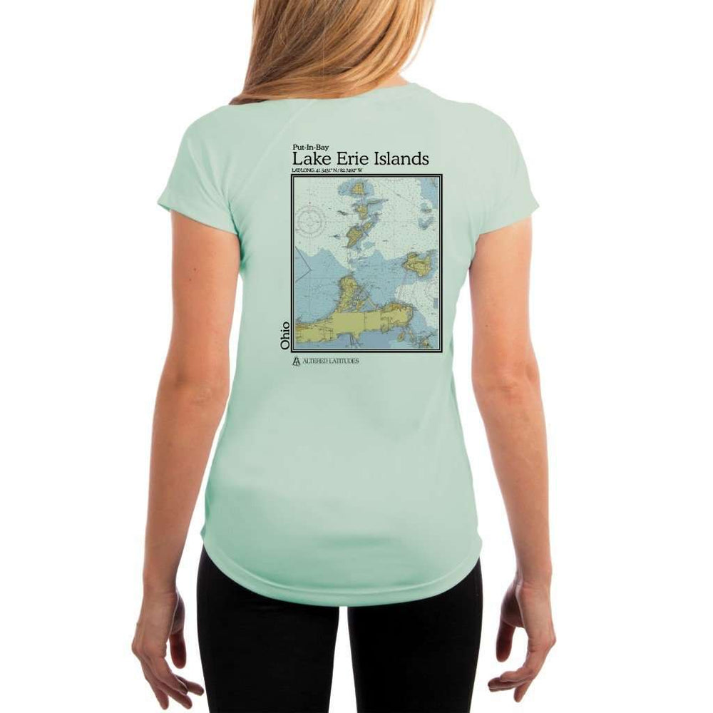 Coastal Classics Lake Erie Islands Womens Upf 5+ Uv/sun Protection Performance T-Shirt Seagrass / X-Small Shirt