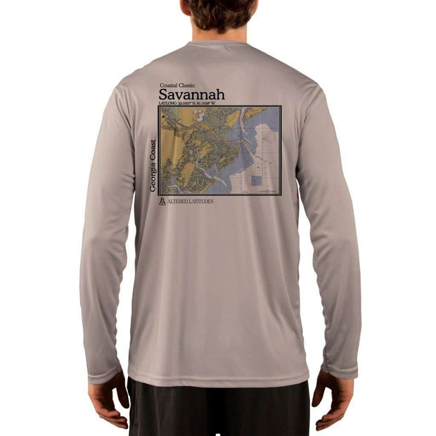 Coastal Classics Savannah Georgia Coast Mens Upf 5+ Uv/sun Protection Performance T-Shirt Athletic Grey / X-Small Shirt