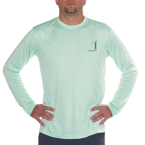 Laser Olympic Class Sailboat Blue Men's UPF 5+ Long Sleeve T-Shirt - Altered Latitudes