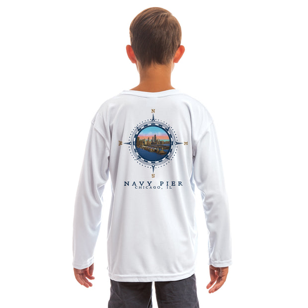 Compass Vintage Navy Pier Youth UPF 50+ UV/Sun Protection Long Sleeve T-Shirt