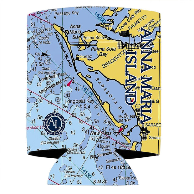 Altered Latitudes Anna Maria Island Chart Standard Can Cooler (4-Pack)