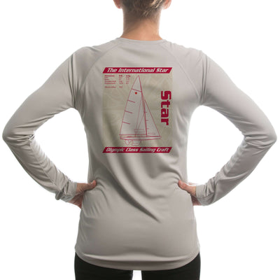 Star Olympic Class Sailboat Red Women's UPF 50+ Long Sleeve T-shirt