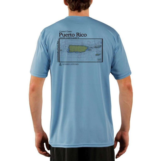 Coastal Classics Puerto Rico Mens Upf 5+ Uv/sun Protection Performance T-Shirt Columbia Blue / X-Small Shirt