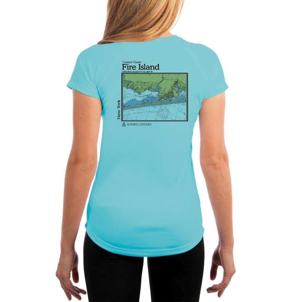 Coastal Classics Fire Island Womens Upf 50+ Uv/sun Protection Performance T-Shirt Water Blue / X-Small Shirt