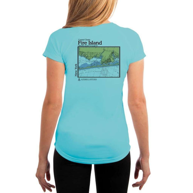 Coastal Classics Fire Island Womens Upf 5+ Uv/sun Protection Performance T-Shirt Water Blue / X-Small Shirt