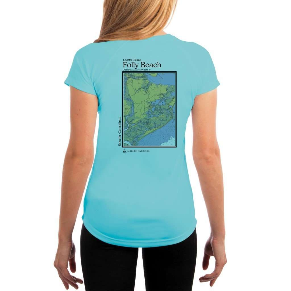 Coastal Classics Folly Beach Womens Upf 50+ Uv/sun Protection Performance T-Shirt Water Blue / X-Small Shirt