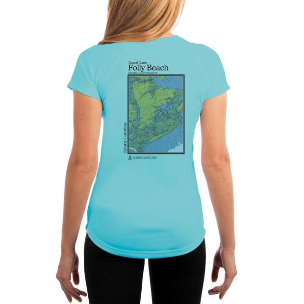 Coastal Classics Folly Beach Womens Upf 5+ Uv/sun Protection Performance T-Shirt Water Blue / X-Small Shirt