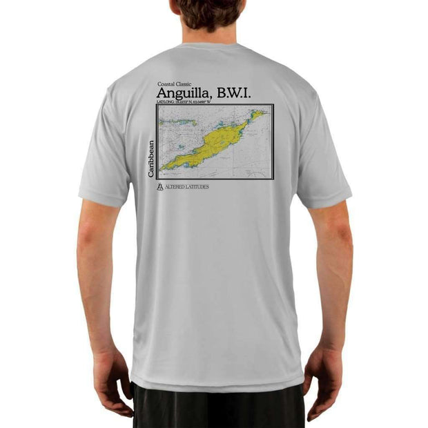 Coastal Classics Anguilla B.w.i. Mens Upf 5+ Uv/sun Protection Performance T-Shirt Pearl Grey / X-Small Shirt