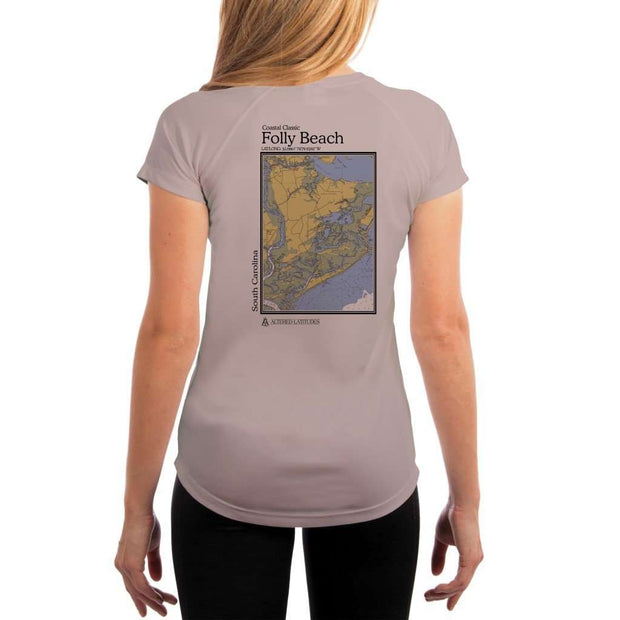Coastal Classics Folly Beach Womens Upf 5+ Uv/sun Protection Performance T-Shirt Athletic Grey / X-Small Shirt