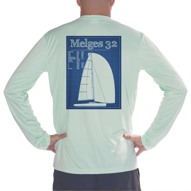 Melges 32 Class Sailboat Men's UPF 50+ UV/Sun Protection Long Sleeve T-Shirt