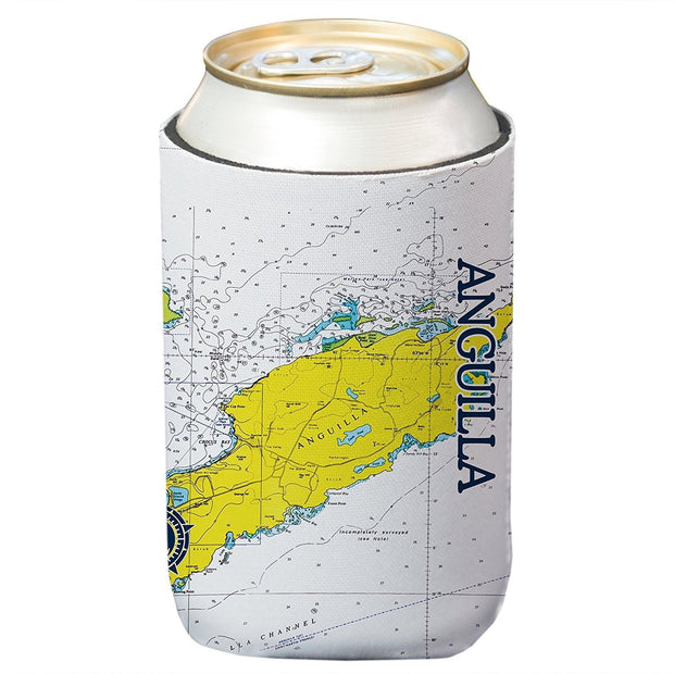 Altered Latitudes Anguilla, BWI Chart Standard Can Cooler (4-Pack)