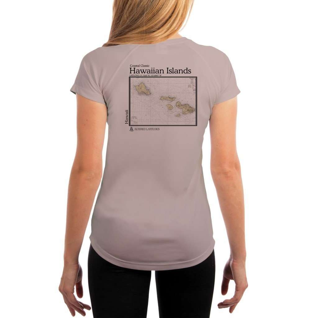 Coastal Classics Hawaiian Islands Womens Upf 50+ Uv/sun Protection Performance T-Shirt Athletic Grey / X-Small Shirt