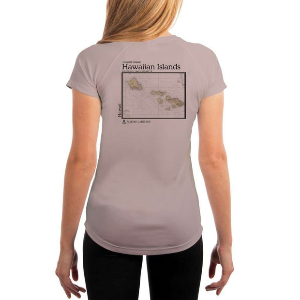 Coastal Classics Hawaiian Islands Womens Upf 5+ Uv/sun Protection Performance T-Shirt Athletic Grey / X-Small Shirt