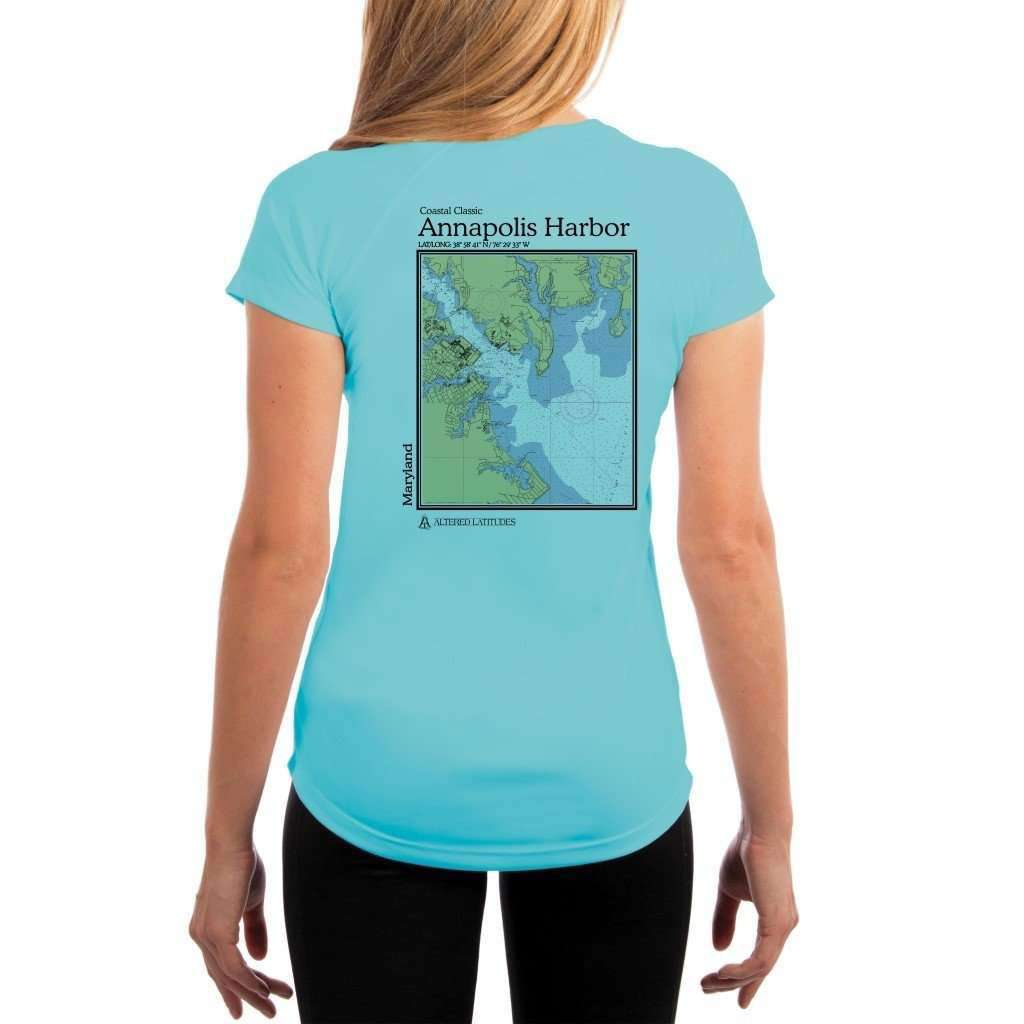 Coastal Classics Annapolis Harbor Womens Upf 50+ Uv/sun Protection Performance T-Shirt Water Blue / X-Small Shirt