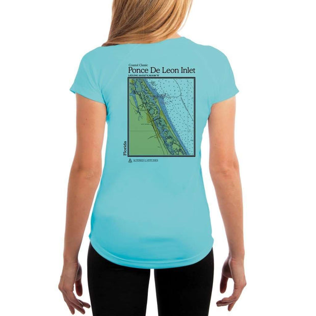 Coastal Classics Ponce De Leon Inlet Womens Upf 5+ Uv/sun Protection Performance T-Shirt Water Blue / X-Small Shirt