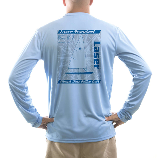 Laser Olympic Class Sailboat Blue Men's UPF 50+ Long Sleeve T-Shirt