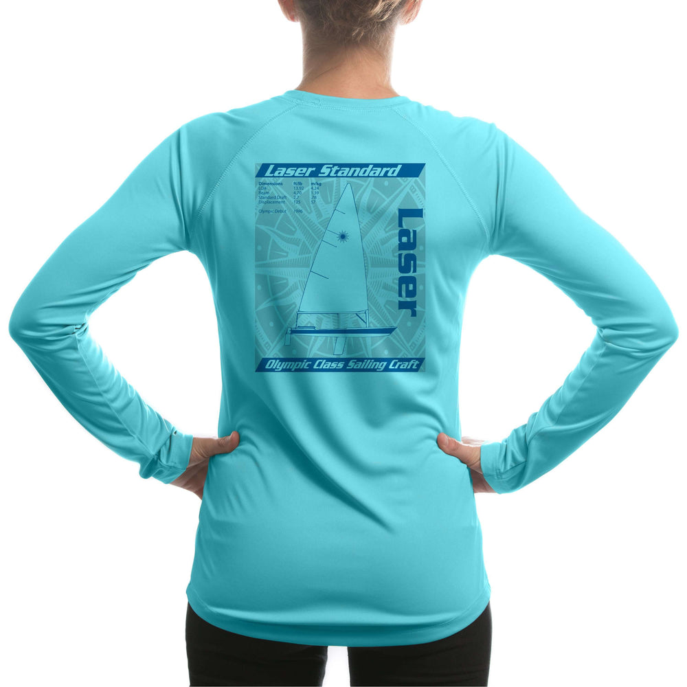 Laser Olympic Class Sailboat Blue Women's UPF 5+ Long Sleeve T-shirt - Altered Latitudes