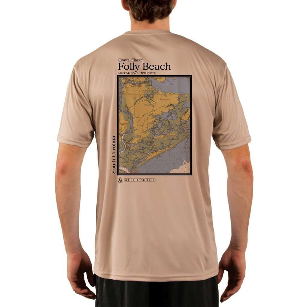Coastal Classics Folly Beach Mens Upf 5+ Uv/sun Protection Performance T-Shirt Tan / X-Small Shirt