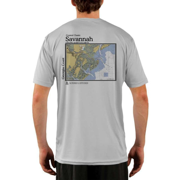 Coastal Classics Savannah Georgia Coast Mens Upf 5+ Uv/sun Protection Performance T-Shirt Pearl Grey / X-Small Shirt