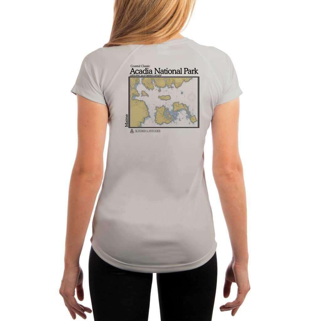 Coastal Classics Acadia National Park Womens Upf 50+ Uv/sun Protection Performance T-Shirt Pearl Grey / X-Small Shirt