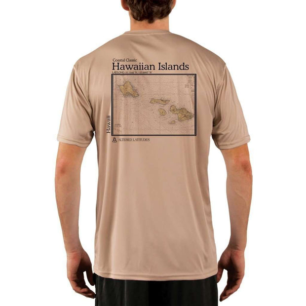 Coastal Classics Hawaiian Islands Mens Upf 5+ Uv/sun Protection Performance T-Shirt Tan / X-Small Shirt