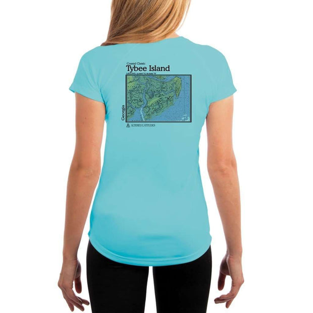 Coastal Classics Tybee Island Womens Upf 5+ Uv/sun Protection Performance T-Shirt Water Blue / X-Small Shirt