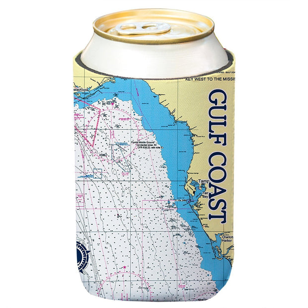 Altered Latitudes Gulf Coast Chart Standard Can Cooler (4-Pack)