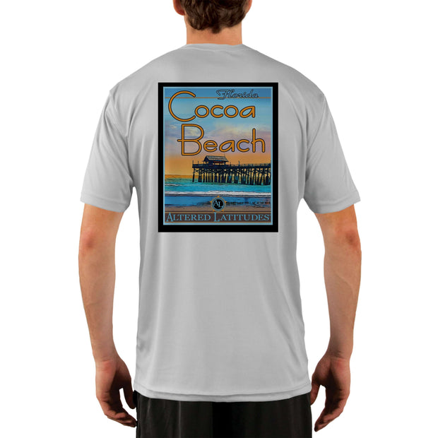Vintage Destination Cocoa Beach Men's UPF 5+ UV Sun Protection Short Sleeve T-shirt - Altered Latitudes