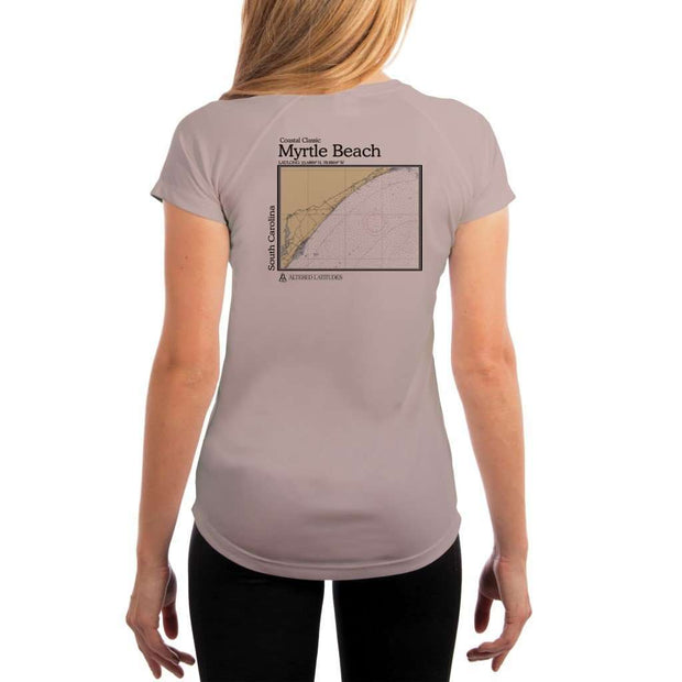Coastal Classics Myrtle Beach Womens Upf 5+ Uv/sun Protection Performance T-Shirt Athletic Grey / X-Small Shirt