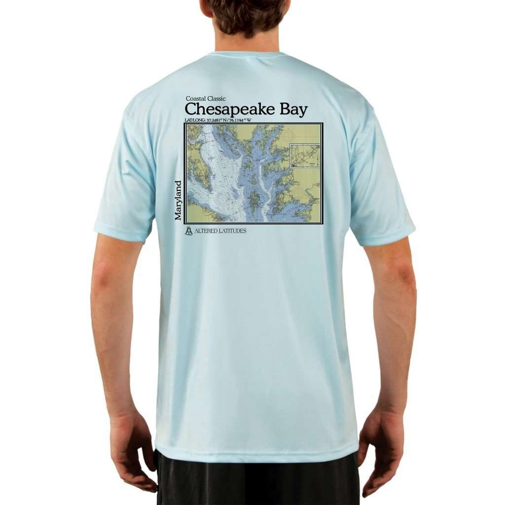 Coastal Classics Chesapeake Bay Mens Upf 50+ Uv/sun Protection Performance T-Shirt Arctic Blue / X-Small Shirt
