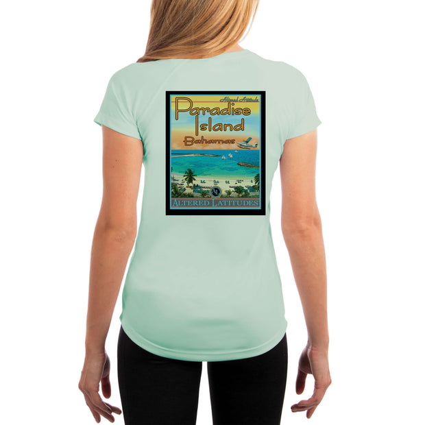 Vintage Destination Paradise Island Women's UPF 5+ UV Sun Protection Short Sleeve T-shirt - Altered Latitudes