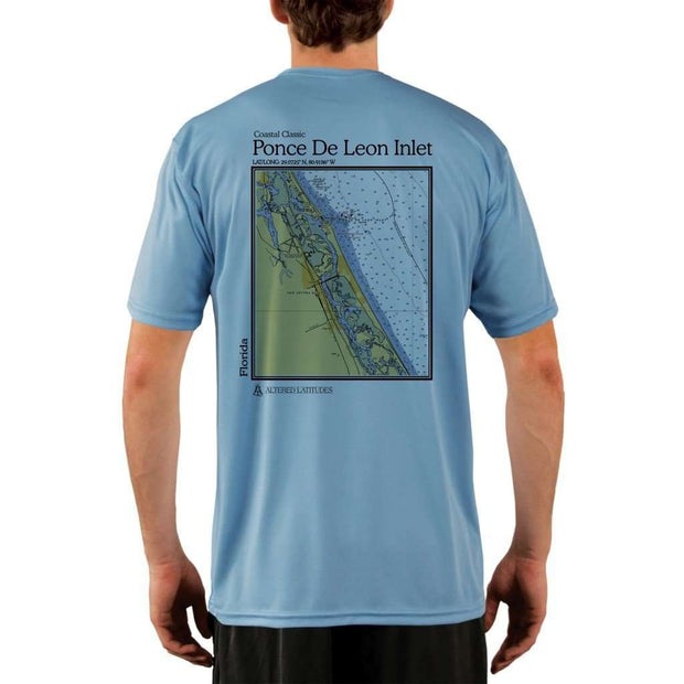Coastal Classics Ponce De Leon Inlet Mens Upf 5+ Uv/sun Protection Performance T-Shirt Columbia Blue / X-Small Shirt