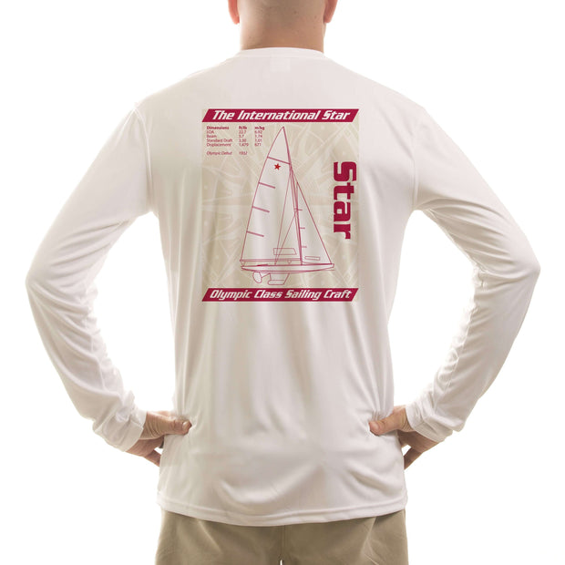 Star Olympic Class Sailboat Red Men's UPF 50+ Long Sleeve T-Shirt