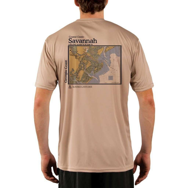 Coastal Classics Savannah Georgia Coast Mens Upf 5+ Uv/sun Protection Performance T-Shirt Tan / X-Small Shirt