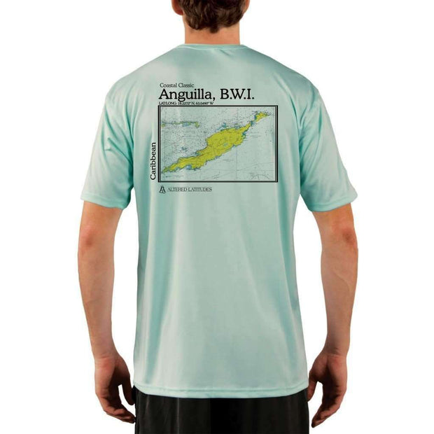 Coastal Classics Anguilla B.w.i. Mens Upf 5+ Uv/sun Protection Performance T-Shirt Seagrass / X-Small Shirt