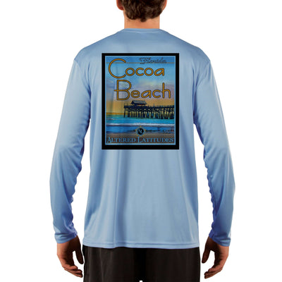 Vintage Destination Cocoa Beach Men's UPF 50+ UV Sun Protection Long Sleeve T-Shirt
