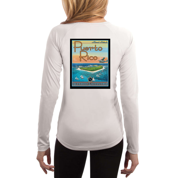 Vintage Destination Puerto Rico Women's UPF 5+ UV Sun Protection Long Sleeve T-shirt - Altered Latitudes