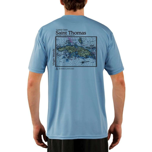 Coastal Classics Saint Thomas Mens Upf 5+ Uv/sun Protection Performance T-Shirt Columbia Blue / X-Small Shirt
